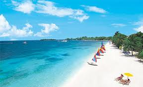 Seven miles of pure white sand beach in Negril