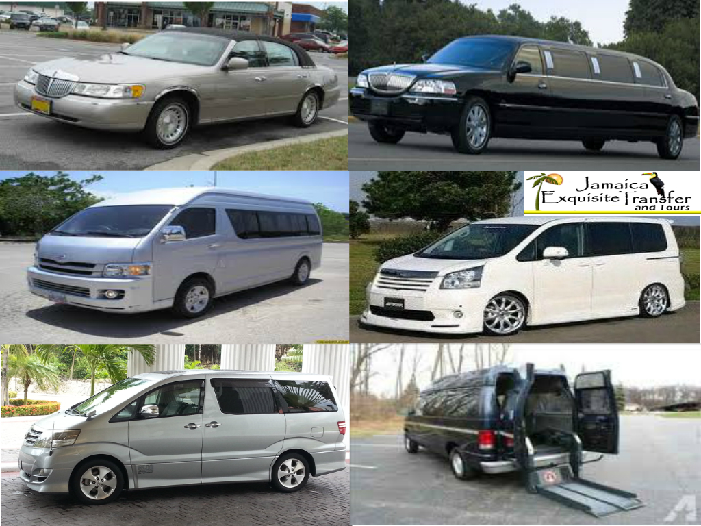 See some of Jamaica Exquisite Transfer and Tours luxury vehicles such as our town car, limousine, minivan and the new Toyota Alphard that we used to transfer our guest from Montego B ay and Kingston airport to any part of the island.